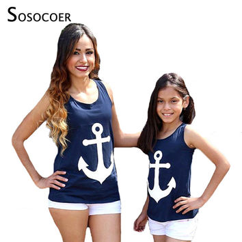 SOSOCOER Mother Daughter Clothes T Shirt 2017 Summer Navy Anchor Matching T-shirts Cute Bow Family Look Mom Son Daughter Outfits