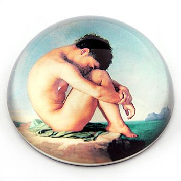 Naked Boy Sitting at the Edge of Sea Glass Paperweight by Flandrin 3W