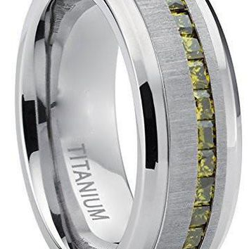 Men's Eternity Titanium Wedding Band Engagement Ring W/ Green Simulated Peridot Cubic Zirconia Princess Cut CZ