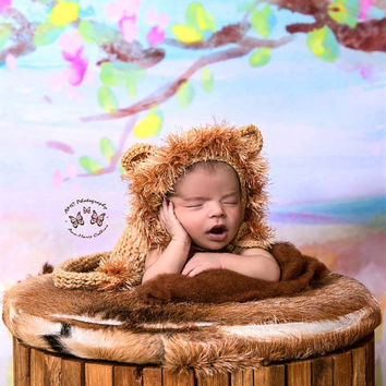a365052d0ac Newborn Lion Hat and Pants with Tail Set
