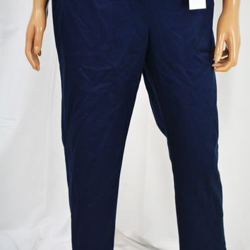 Charter Club Women Stretch Blue Classic Fit Slim-Leg Ankle Pants 12