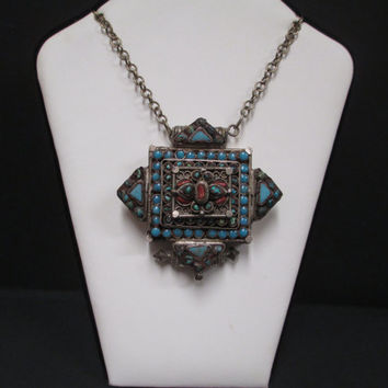 Old Tibetan Amulet Necklace  Ethic Tribal Buddhist Gau Prayer Box Turquoise Red Coral with Orig Chain