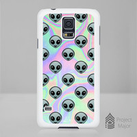Fits Samsung Galaxy S5 SV Alien Emoji Hologram Holographic *Style Case Cover
