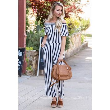 Pocket Off Shoulder Striped Jumpsuit