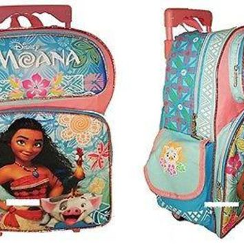 "Disney Moana Adventurous Teenager Girls 16"" Rolling/Roller Backpack"