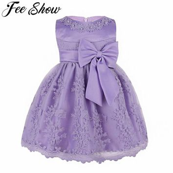 Toddler Girl Dress Floral Embroidered Bow Baptism Clothes Newborn Baby Christening Gown Dress For Girl Kids Party Wear 6-24 M