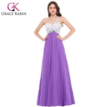 Grace Karin Evening Dress One Shoulder Elegant Medium Orchid Purple Long Evening Dresses Vestido De Noche Formal Dress