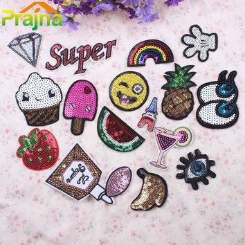1PCS Letter Rainbow Patch Fruit Iron On Cute Sequin Patches Cheap Embroidered Cartoon Patches For Clothing Kids Eye Emoji Patch