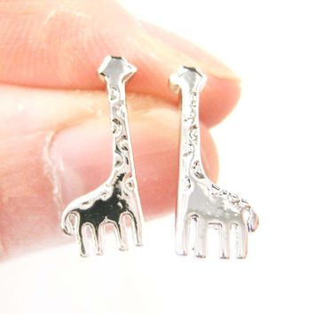 Miniature Giraffe Shaped Animal Stud Earrings in Silver | DOTOLY