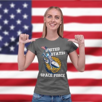 Women's Funny Space Force T Shirt United States Space Force Shirt Astronaut Shirts Funny Shirts U.S. Space Force