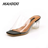MANXIXI New women high heels sandals shoes woman Transparent crystal thick heels ladies retro fashion star sandals size 35-39
