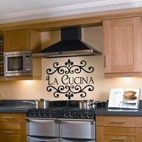 La Cucina Kitchen Vinyl Wall Decal Italian Decoration Kitchen Decor
