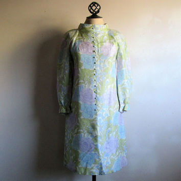 60s Scooter Green Floral Dress Vintage Pastel Silk Shantung Flower Power Gogo MOD 1960s Jane and Jane Mini Dress Small