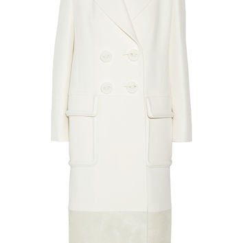 Fendi - Leather and calf hair-trimmed wool and silk-blend coat