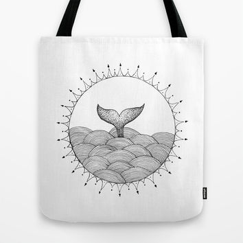 Whale in Waves Tote Bag by Cinema4design