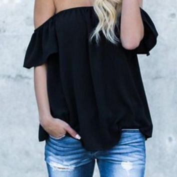 Black Ruffle Off Shoulder Backless Going out Casual Blouse