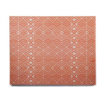 "Pom Graphic Design ""Aztec Roots"" Orange Tribal Birchwood Wall Art"