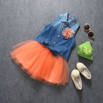 Tutu Skirt And Denim Top Set