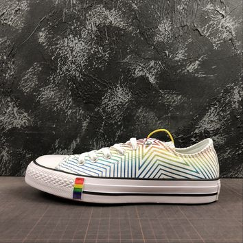 Converse All Star Chuck Taylor 70s Low-Top White Rainbow Multi Color Canvas Sneakers - Best Deal Online