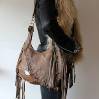 Distressed fringed milky brown leather raw edges bag tribal hobo boho tote slouchy purse  fringe festival gypsy bohemian peoplenative
