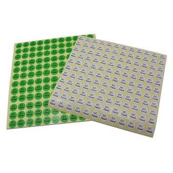 11880pcs 1.3cm Small Round Printed Self Adhesive Sticker Label Q.C. PASSED Print Tag Coated Paper White Green