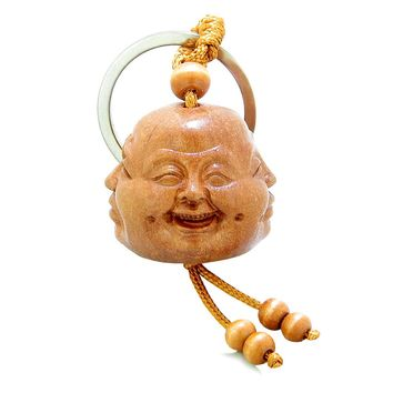 Amulet Four Seasons Happy Calm Sad and Wise Buddha Face Fortune Feng Shui Symbols Keychain Blessing