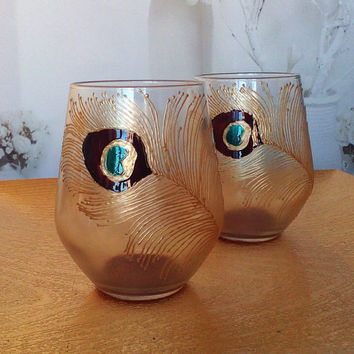 Set of 2 Hand Painted wine glasses Peacock feathers in brown, gold and peacock blue