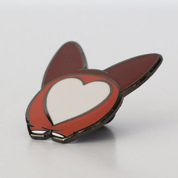 Corgi Heart-Butt Hard Enamel Pin - White