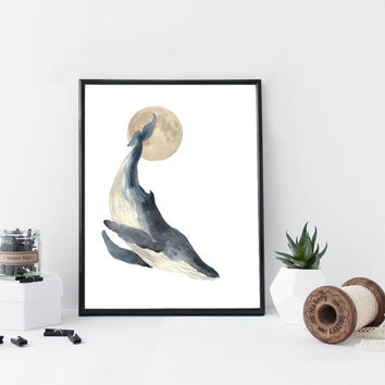 Whale watercolor art print, nautical art print, home wall decor, whale poster, marine, nursery decor, apartment decor, minimal simple print