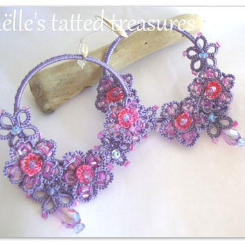 Hoop earrings handmade original tatted design, lilacs  hortensia flower hand tatted earrings, lace jewels earrings
