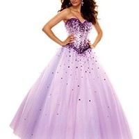 NobleFans Sweetheart Floor Length Tulle Ball Gown Prom Dress