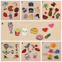 7 Sets Assorted Popcorn Drinks Hamburger Raionbow Fruit Embroidered Iron On cartoon Patches DK Fashion Appliques DIY Accessory
