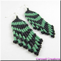 Native American Style Beadwork Seed Bead Earrings in Opaque Green and Black