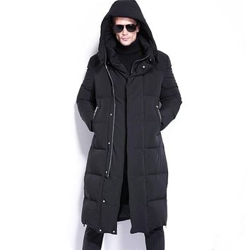 New Arrive Male Ultra Long Paragraph Thickening Facecity Solid Color Lengthen Over-the-knee Goose Down Coat