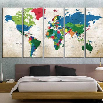world map wall art Push pin, world map art canvas print, travel map push pin, large size 5 panel, map poster Artistic wall decor,  Qn51