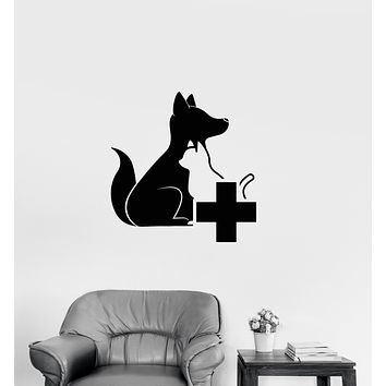 Vinyl Wall Decal Veterinary Clinic Logo Dog And Cat Stickers (4000ig)