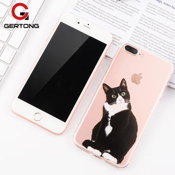 GerTong Transparent Silicon Back Cover Case For iPhone 6 7 5S 6S Plus 5 S SE Animal Cat TPU Protective Phone Shell For iPhone 7