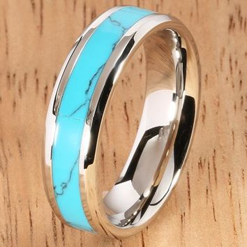 6mm Turquoise Ring Stainless Steel Made Beveled Edge Wedding Ring