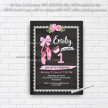 Ballerina Birthday Invitation, sweet girl birthday Party any age, kids, 1st 2nd 3rd 4th 5th 6th 7th 8th 9th 10th 18th 16th - card 769