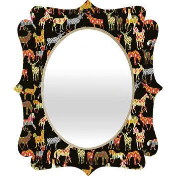 Sharon Turner Deer Horse Ikat Party Quatrefoil Mirror