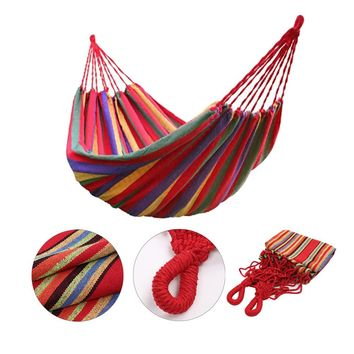 Portable Outdoor Hammock Garden Sports Home Travel Camping Swing Canvas Stripe Hang Bed Hammock 200 x 80 cm