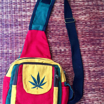 Rasta Color Marijuana Leaf Sling Bag backpack Rastafari Red Green Yellow Men Women Hippie Chic Music Festival Crossbody bag purse Gift