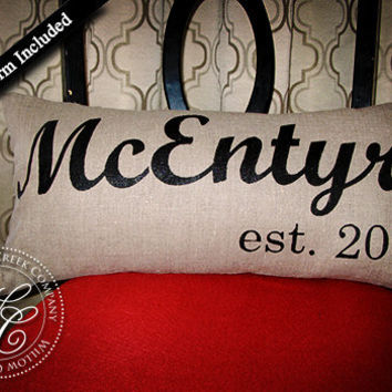 Personalized WEDDING GIFT PILLOW Family Name Established Date High Quality Linen