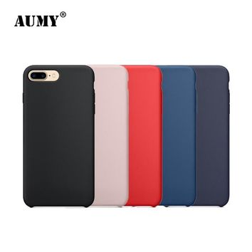 AUMY Cute Cover for iphone 7 Case Original Skin-friendly Liquid Silicone Shell for Apple iphone 7 Plus 7Plus Case Luxury Coque