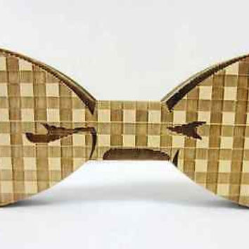 Hip Hop Jewelry Small Square Bow Tie Good Real Wood Geometric Neck Tie Jewelry