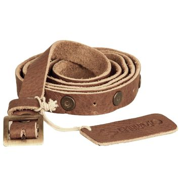 Studded Single Wrap Skinny Belt | Genuine Leather - Cognac with Antique Brass