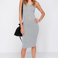 LULUS Exclusive Watch This Grey Midi Dress