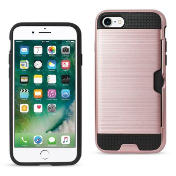 New Slim Armor Hybrid Case With Card Holder In Rose Gold For iPhone 7