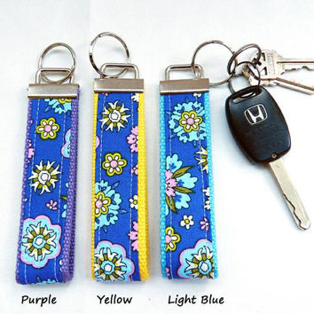 4th OF JULY SALE Blue with Pink Teal Green & Yellow Flowers Key Fob Wristlet Choose Your Cotton Webbing Color and Key Ring Key Chain Wristle