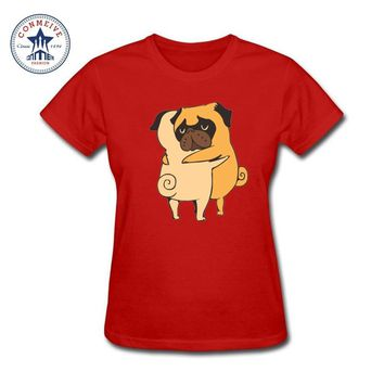 Women clothes Fashion New Gift Tee two pugs hugs design cartoon girl's best friends Cotton short sleeve funny t shirt women